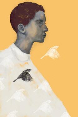 Mark Owen BOY WITH PATTERN OF FLYING BIRDS