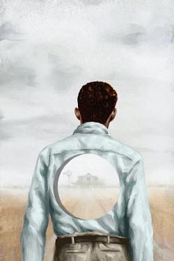 Mark Owen MAN WATCHING FARM WITH HOLE IN BODY