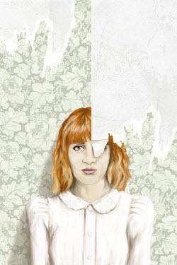 Mark Owen GIRL STANDING BY PEELING WALLPAPER