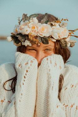 Greta Larosa HAPPY GIRL IN WHITE WITH GARLAND ON HEAD