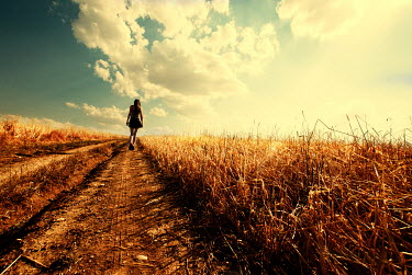 Metin Demiralay WOMAN WALKING IN GOLDEN FIELD