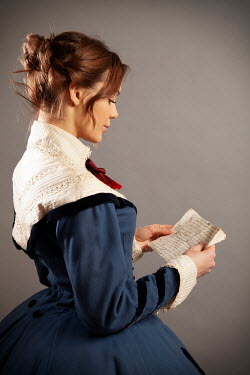 Miguel Sobreira VICTORIAN WOMAN IN BLUE DRESS READING LETTER