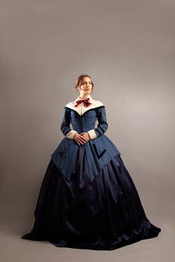 Miguel Sobreira BRUNETTE VICTORIAN WOMAN IN BLUE DRESS