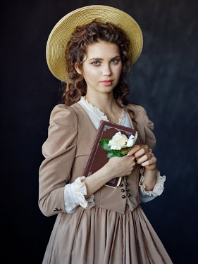 Alexey Kazantsev BRUNETTE GIRL IN HAT WITH BOOK AND FLOWER