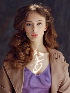 Alexey Kazantsev GIRL WITH LONG RED HAIR IN BROWN COAT