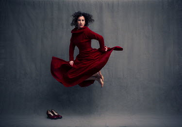 Laurence Winram WOMAN WITH RED DRESS JUMPING
