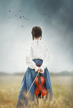 Anna Buczek HISTORICAL GIRL WITH VIOLIN BEHIND BACK IN FIELD