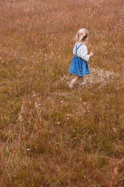 Shelley Richmond LITTLE BLONDE GIRL WALKING IN FIELD