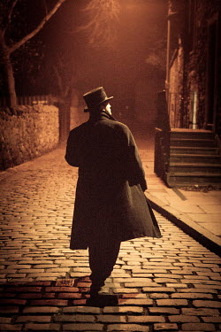 Laurence Winram HISTORICAL MAN ON COBBLED STREET