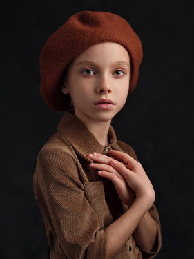Alexey Kazantsev SERIOUS YOUNG GIRL IN BROWN BERET