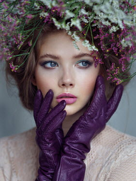 Alexey Kazantsev WOMAN WITH FLORAL HEADDRESS AND PURPLE GLOVES