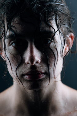 Magdalena Russocka sad woman with wet hair and face