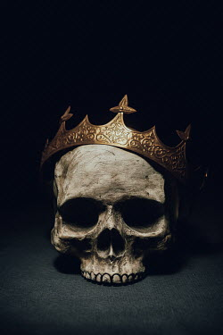 Magdalena Russocka human skull with gold crown in shadow