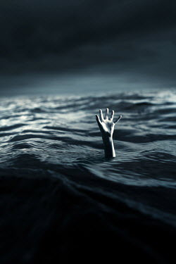 Magdalena Russocka single hand of drowning woman in stormy sea asking for help