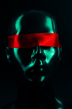 Magdalena Russocka head of mannequin blindfolded with red ribbon