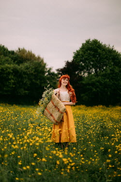 Rebecca Stice GIRL WITH RED HAIR WITH BASKET IN MEADOW