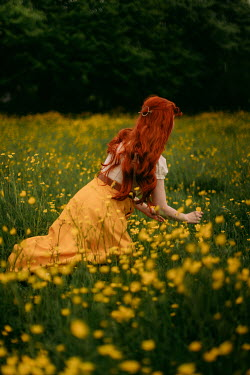 Rebecca Stice GIRL WITH RED HAIR PICKING YELLOW FLOWERS
