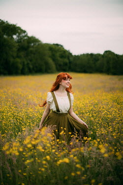 Rebecca Stice HAPPY GIRL IN MEADOW OF YELLOW FLOWERS