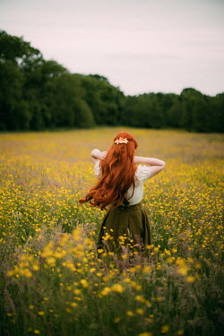 Rebecca Stice GIRL IN MEADOW OF YELLOW FLOWERS