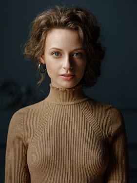 Alexey Kazantsev BRUNETTE  GIRL IN BROWN SWEATER