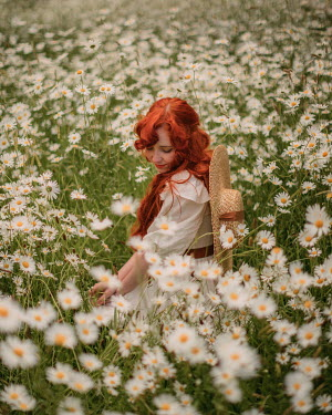 Rebecca Stice WOMAN WITH RED HAIR SITTING IN MEADOW OF DAISIES