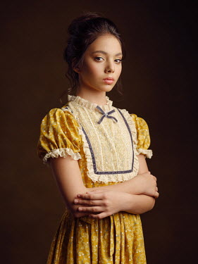 Alexey Kazantsev SERIOUS ASIAN GIRL WITH YELLOW FLORAL DRESS