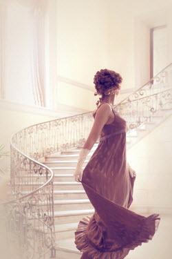 ILINA SIMEONOVA REGENCY WOMAN TURNING ON STAIRCASE IN GRAND HOUSE