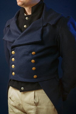 Shelley Richmond CLOSE UP OF HISTORICAL MAN IN COAT WITH BUTTONS