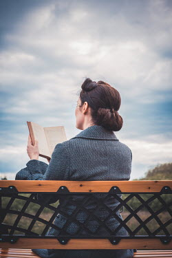 Marie Carr RETRO WOMAN SITTING READING BOOK ON BENCH