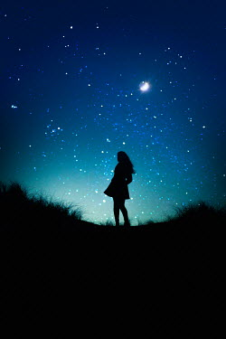 Marie Carr SILHOUETTED WOMAN OUTDOORS WATCHING MOON AND STARS