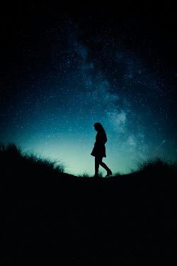 Marie Carr SILHOUETTED WOMAN OUTDOORS WITH STARRY SKY