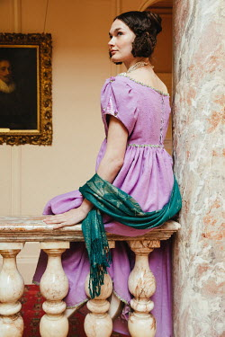 Matilda Delves REGENCY WOMAN SITTING BY MARBLE COLUMN INDOORS