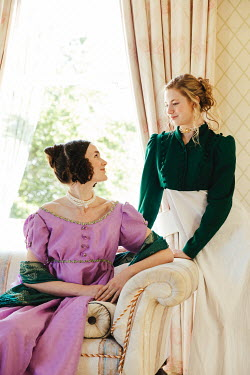 Matilda Delves TWO REGENCY WOMEN INDOORS BY WINDOW SMILING