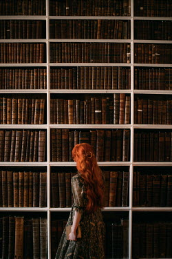 Rebecca Stice WOMAN WITH RED HAIR BY BOOK SHELVES
