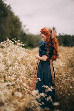 Rebecca Stice GIRL WITH RED HAIR AND HEADSCARF IN MEADOW