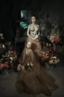 Katerina Klio WOMEN WITH WINGS AND FLOWERS INDOORS