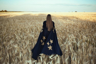 Katerina Klio WOMAN IN CAPE WITH STARS IN WHEAT FIELD