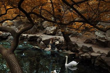 Kirill Sakryukin WOMAN SITTING BY RIVER WITH SWAN