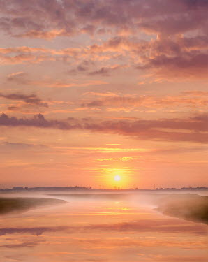 Adrian Leslie Campfield MISTY RIVER WITH PINK CLOUDS AND SUNSET