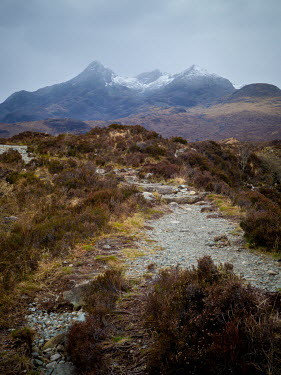 David Baker MOORLAND PATH WITH SNOWY MOUNTAINS
