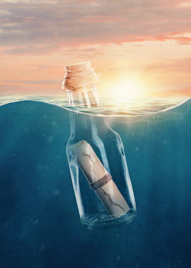 Elena Schweitzer MESSAGE IN BOTTLE FLOATING IN SEA