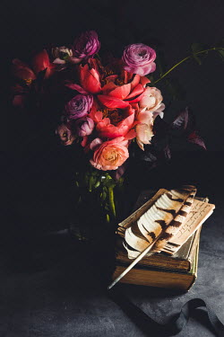 Isabelle Lafrance BOOKS AND QUILL WITH BOUQUET OF FLOWERS