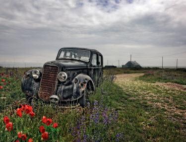 Paul Knight ABANDONED VINTAGE CAR BY COASTAL ROAD
