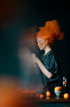 Svitozar Bilorusov WOMAN WITH ORANGE CHEEKS HEADSCARF AND FRUIT