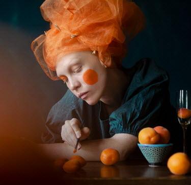 Svitozar Bilorusov WOMAN WITH ORNAGE HEADDRESS PAINTING FRUIT