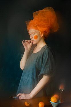 Svitozar Bilorusov WOMAN WITH ORANGE CHEEKS HEADSCARF AND PAINTBRUSH