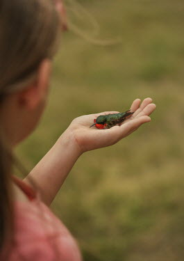 Buffy Cooper YOUNG GIRL HOLDING TINY BIRD OUTDOORS