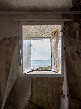 David Baker WINDOW OF DERELICT HOUSE BY OCEAN