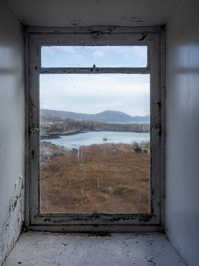 David Baker WINDOW OF OLD HOUSE WITH VIEW OF SEA