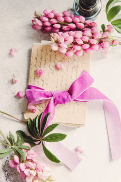 Isabelle Lafrance LETTERS TIED IN PINK BOW WITH FLOWERS